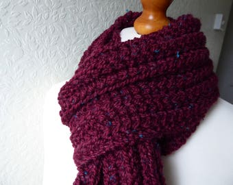 Lovely deep red/berry colour hand knitted chunky scarf in a premium wool  and acrylic yarn