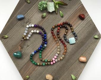 CHAKRA 108 MALA - Chakra Balance - Multi-Gemstone Chakra Healing Necklace 108 Mala