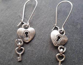 Heart Padlock Silver Plated Earrings
