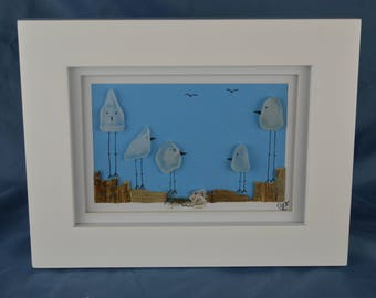 Bird scene seaglass art, 9in x 7in framed seaglass, coastal decor, 5 birds