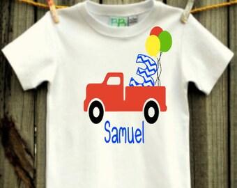 boys' personalized pickup truck birthday shirt vinyl custom
