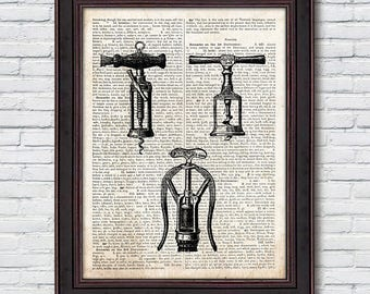 Corkscrew Dictionary Print, Corkscrew Poster, Corkscrew Wall Art, Wine Decor, Dictionary Print - DI037