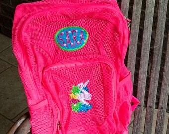 Monogrammed Backpack | Mesh Backpack | Unicorn Backpack | Girls Backpack | Horse Backpack | Book Bag | Pony Backpack | School Bag | Backpack