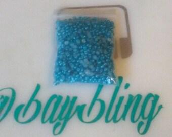 aqua 3mm flatback pearls