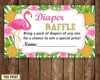 Instant download Flamingo Pineapple Baby Shower Diaper Raffle Ticket Cards and Diaper Raffle Sign Instant Download Luau Hawaiian Pool DRP1