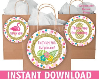 Flamingo Favor Tags Tropical Birthday Pool Party Beach Luau Pink Gold Hawaiian thank you card topper Instant Download circle girl FTFL3