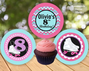 Roller Skating Birthday Cupcake toppers Printable Skates Stickers Party Printable Favor tags Girl Pink Aqua Purple Favor tags CTIS1