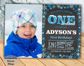 Baby it's cold outside Birthday invitation Boy Penguin Winter Wonderland invite Onederland Chalkboard First Photo Photograph Blue BDW25