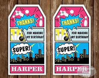 Bowling Birthday Favor Tags Superhero Bowling Birthday Party Superheroes Girl Bowling Treat Bag Toppers Strike Pink Teal Blue Yellow FTSPH2