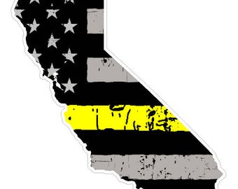 California State (E7) Thin Yellow Line Dispatch Vinyl Decal Sticker Car/Truck Laptop/Netbook Window