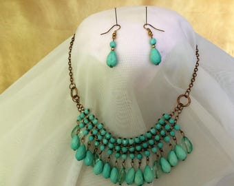 egyptian revival bib style necklace/choker and earrings-ONE OF A KIND