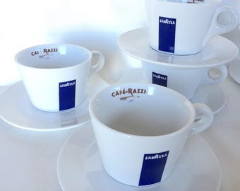 LAVAZZA Cappuccino / Cafe Au Lait Cups & Saucers From CAFE RAZZI in San Francisco Italian Bistro Coffee Cups and Saucers