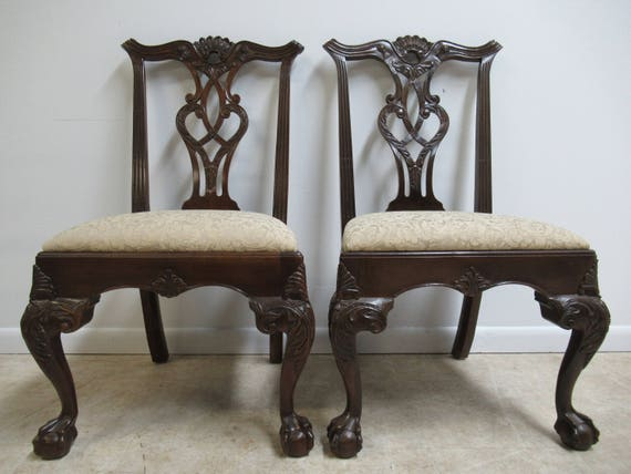 Pair of Henredon Ball and Claw Mahogany Chippendale Dining Room Side Chair A