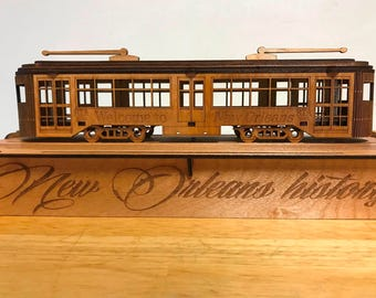 Laser cut New Orleans Streetcar