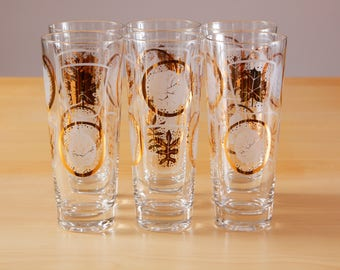6 Vintage mid-century gold and leaf pattern Collins glasses