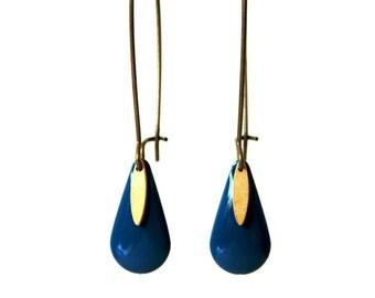 Sequin blue enamel earrings