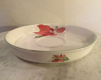 """Vintage Gorgeous Block Bernarda Portugal Watercolors """"Poinsettia"""" Red. Chip Bowl Plate By Mary Lou Goertzen. Discontinued. From 1982."""