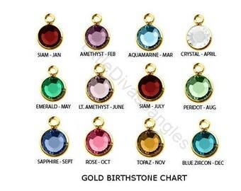 Add Your SWAROVSKI  Gold Crystal Birthstone  / Add On / Personalize your Bracelet / Bangle - USA  -