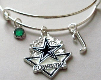 NFL Dallas Cowboy CHARM Bangle W/ Birthstone / Initial Football Charm Bangle / Bracelet - Patriots Bracelet -Gift  NFL Bangle  Usa