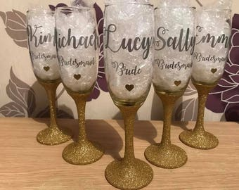 Any colour personalised bridal party champagne glitter flute