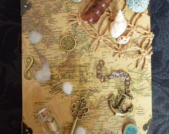 "Chalkboard ""Jules Verne"" old world nautical travel map"
