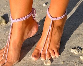 Lilac Barefoot Sandals, Crochet Barefoot Sandal, Wedding Accessory, Beach Wedding, Soleless Sandals, Foot Jewelry, Footless Sandals