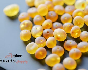 Raw Baltic amber loose Beads. Amber Beads. Raw / unpolished amber. Honey color, baroque amber style. Natural amber. #5848