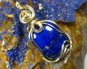 Lapis Lazuli Wire Wrapped Pendant in 14k Gold Filled Wire