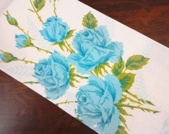 Vintage Luther Travis Linen Tea Towel - Blue Roses, Green Leaves and Stems - Kitchen Towel, Decor, 1960's