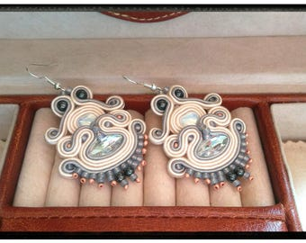 "Soutache earrings ""Beatrice"" with gray"