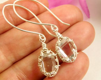 Herkimer Diamond Quartz Crystal Earrings - NY Double Terminated Herkimer Diamond Jewelry - Herkimer Earrings - Herkimer Diamond