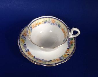 Royal Albert Yellow Border Floral Pattern Teacup and Saucer, Bone China England Tea Cup Set