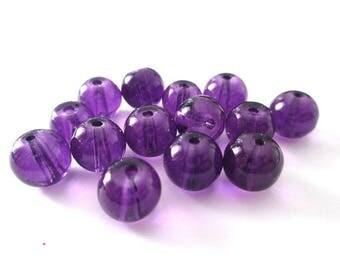 10 purple transparent glass beads 8mm