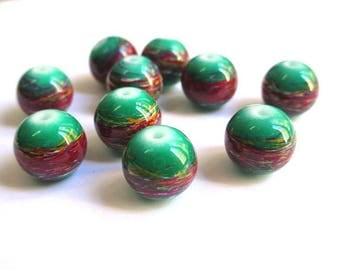 10 multicolor, green painted glass 12mm beads