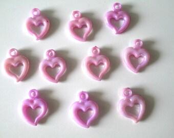 10 pendants pink ab acrylic heart color 20 x 14 mm