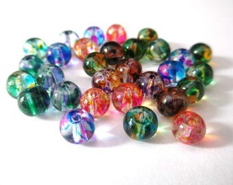 30 translucent drawbench beads verre6mm color mix