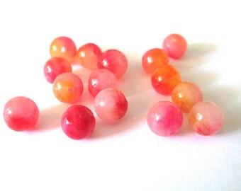 10 natural fuchsia and orange 8mm jade beads