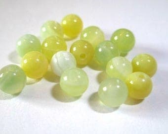 20 striped agate beads shades of yellow and green 4mm