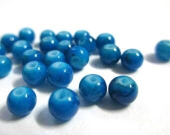 50 speckled Black 4mm blue glass beads