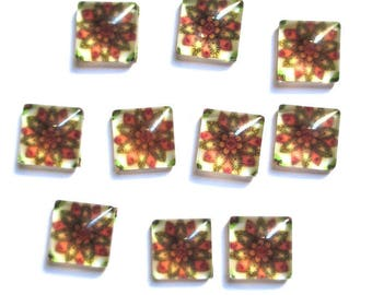 10 cabochons square glass flower 10mm (G-39)