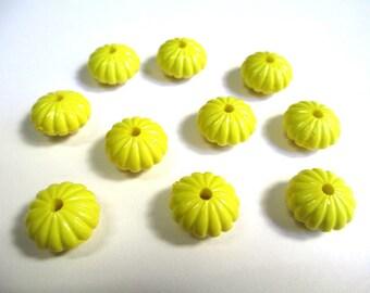 10 14x8mm yellow acrylic flower beads