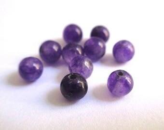 20 beads dark purple natural jade 4mm (G-15)