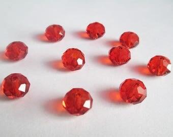 10 has facet 8x10mm Orange iridescent Crystal rondelle beads