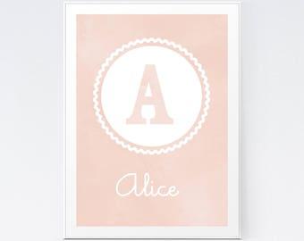 Pink Nursery Monogram, Baby Girl Wall Art, Blush Pink Art Print, Custom Gift for Baby, Modern Nursery Print, Watercolour Blush Art