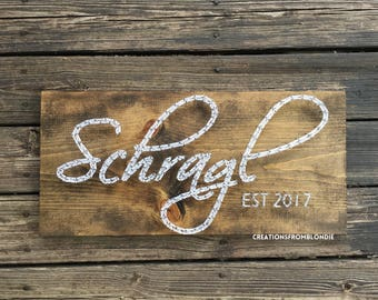 SCRIPT Last Name and Established Date String Art Sign, MADE To ORDER