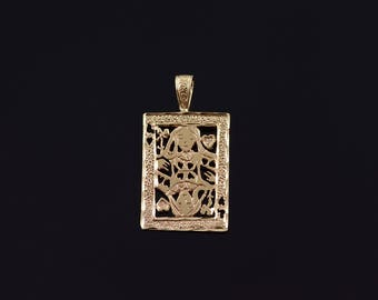 10k Queen of Hearts Playing Card Filigree Charm/Pendant Gold