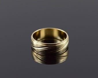 14k 6.3mm Fancy Wrap Engraved Wedding Band Ring Gold