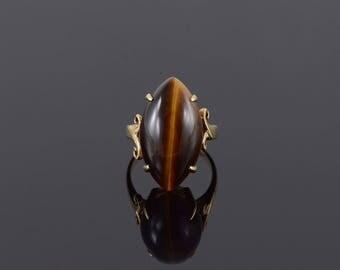 Retro Marquise Tiger Eye Decorative Bridge Ring Size 7.5 Gold