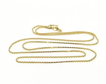 """14k 0.8mm Box Link Fancy Chain Necklace Gold 19.5"""""""