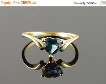 Big SALE 10k 0.75 CT Heart Blue Topaz Ring Gold